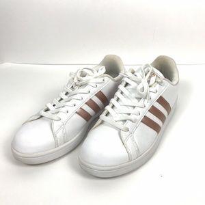 Adidas White Rose Gold Cloudfoam Advantage Shoes